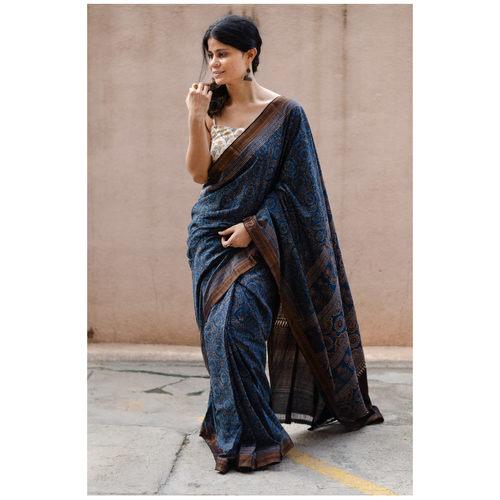 Handblock printed and handmade  processed natural dyed mangalgiri cotton  Ajrakh  saree.