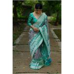 Handloom jari motifs organza silk banarasi saree.