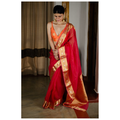 Handwoven organza kora banarasi silk saree with kadhwa border