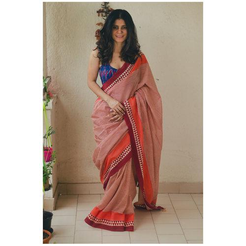 handloom handblock printed mull cotton saree