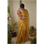 Handwoven metallic linen saree