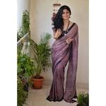 Ajrakh Handblock print tussar silk saree