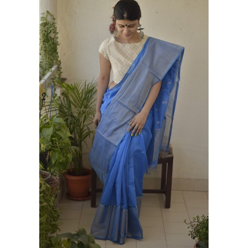 Handwoven Maheswari cotton silk saree