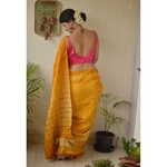 Handmade and handwoven tussar silk shibori saree