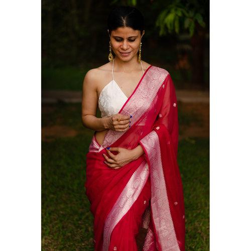 Handwoven Rupa Booti khaddi banarasi chiffon saree