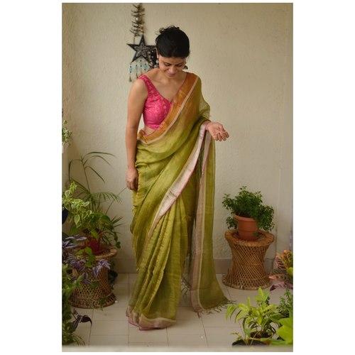Handwoven Thin Tissue wrap plan linen jari saree