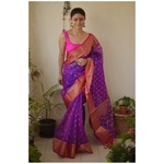 Handwoven Chanderi silk saree with meena kerri bootis motif and handwoven border.