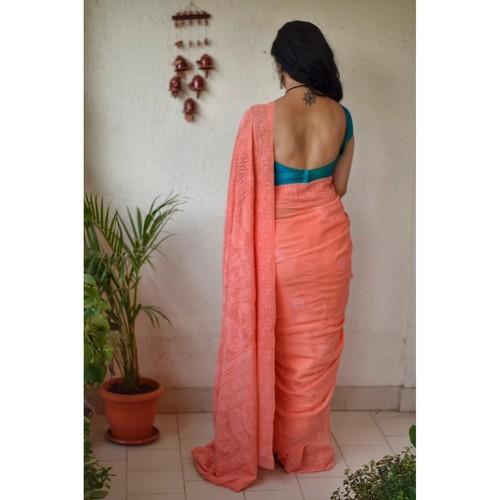 Hand embroidered and handmade chiffon chikankari saree