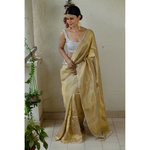 Handloom Twill linen saree blended with tissue blended.