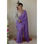Handloom and Handembroidered chikankari muslin cotton saree with silver /copper jari border.