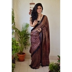 Handblock print modal silk Ajrakh  saree