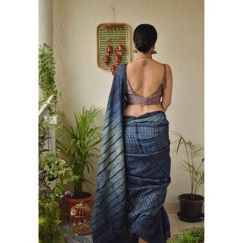 Handwoven shibori tussar silk saree