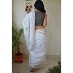 Hand embroidered and hand made kota doria chikankari saree