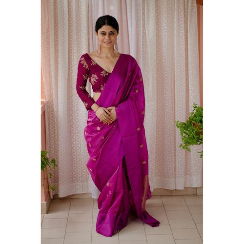 Handloom pattu silk chanderi saree with pattu silk border and handmade meenakari motifs in jari all over the sarees.