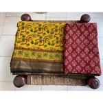 Handblock printed and handmade  processed natural dyed mangalgiri cotton  Ajrakh  saree