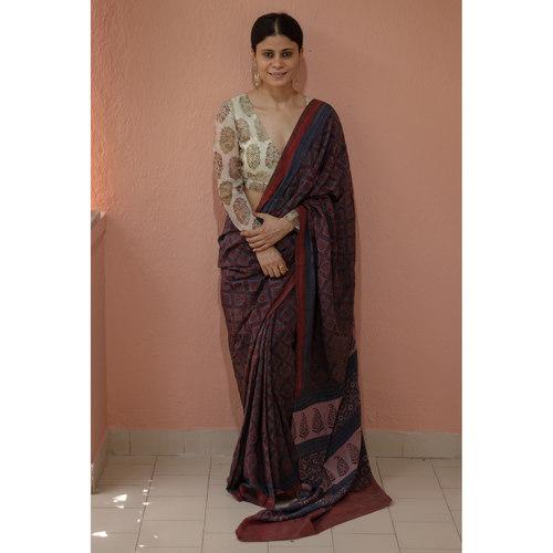 Handblock printed and handmade  processed natural dyed Georgette silk  Ajrakh  saree.