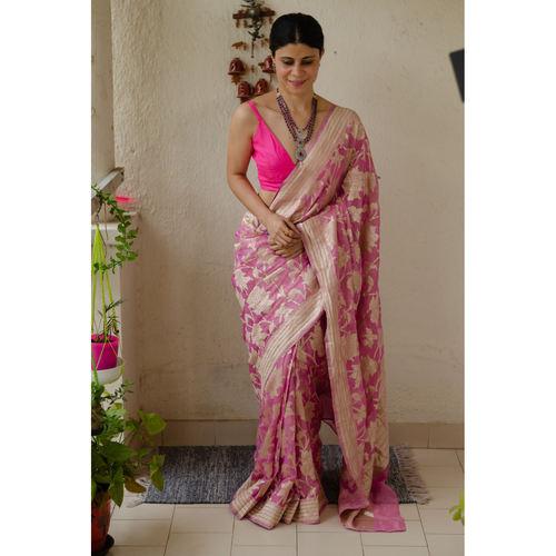 Pure tissue chiffon jaal motif silk handloom banarasi saree