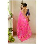 Handloom soft pattu silk with gold jari border and handwoven motifs in pallu. Description - Handloom pattu silk saree