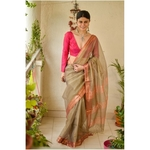 Handloom Maheswari tissue silk saree with woven zari  border.