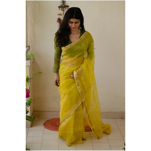 Handloom  soft resham by resham chanderi silk  saree with handwoven jari motifs