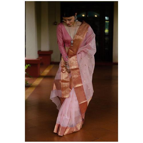 Handloom nakasi border resham silk chanderi saree.