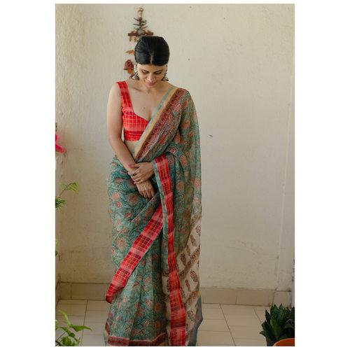 Kota silk  saree in natural dyed handblock print with organza silkchiffon silk patch work border.