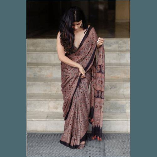 Natural dyed  intricate handblock printed Ajrakh chiffon silk saree.
