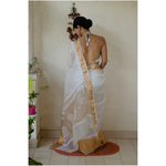 Handembroidered chikankari organza silk saree with banarasi border.