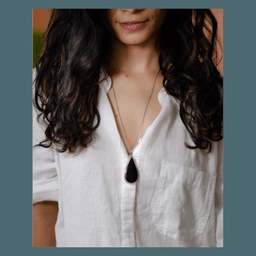 Handmade silver  semi tourmaline  stone pendant with silver chain