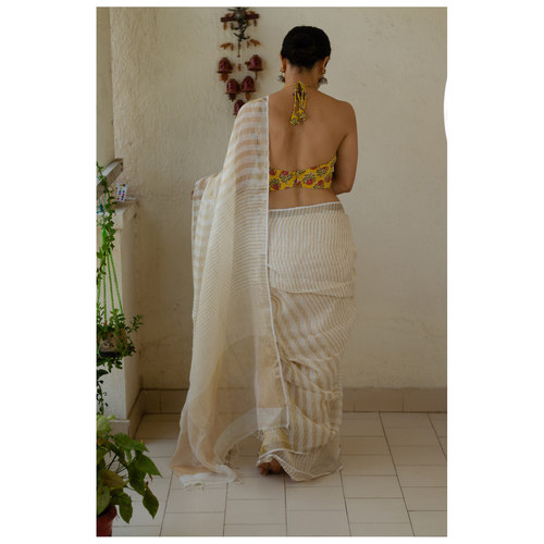 Handloom linen saree with jari stripes..