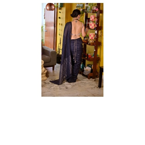 Handwoven muslin jari blended linen saree