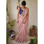 Handwoven metallic linen saree.