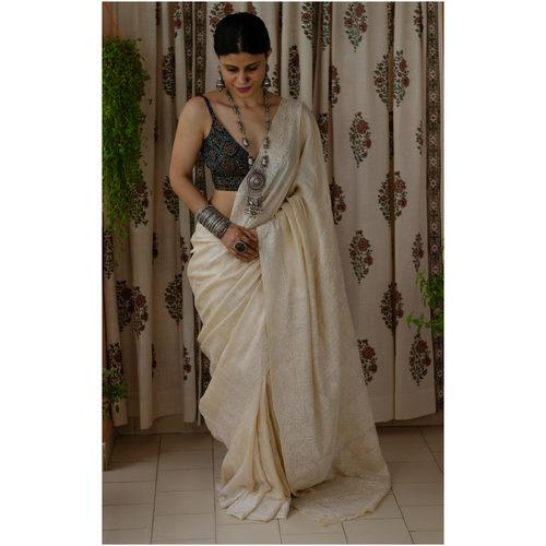 Tussar silk saree in handembroidered chikankari saree