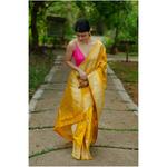 Handwoven kadhwa katan silk banarasi saree with gold jari motifs.