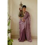 Handloom Metallic linen in natural dyed handmade arashi shibori saree