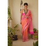 Handwoven khaddi georgette  bhandhini banarasi saree with running blouse