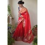 Handwoven Chanderi  patty silk saree with meena bootis motif and border.