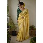 Handwoven Jamdani motif silk cotton banarasi  saree in powri motif