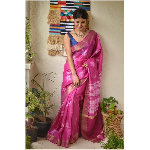 Handwoven Chanderi  jari silk shibori saree.