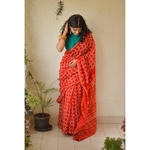 Handwoven and handmade chanderi silk  saree in bandini design