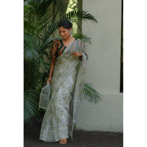 Organic colour dyed and organic processed handblock print organza  silk saree