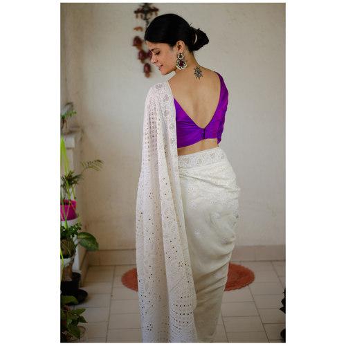 Handembroidered chikankari and mukaish work on pure georgette silk saree