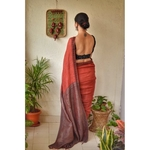 Handwoven linen saree with woven embroidered in border