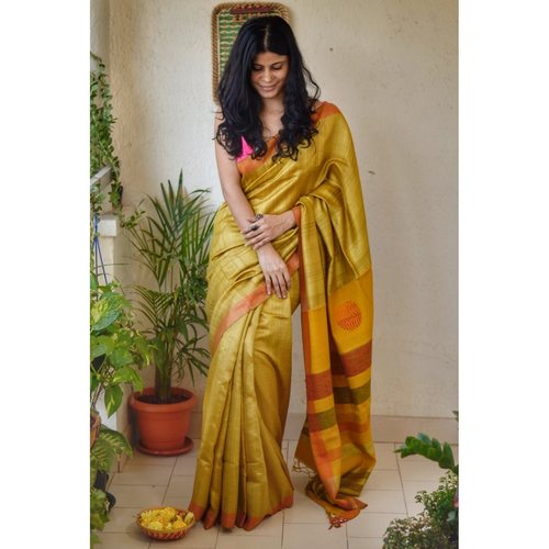 Handwoven tussar silk saree with kantha woven texture in pallu