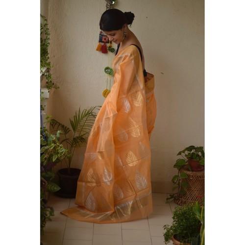 Handwoven Chanderi  cotton silk saree with jari border