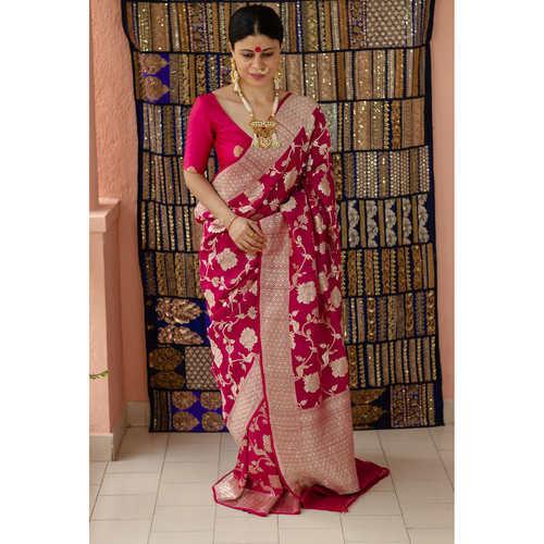 Handwoven kadhwa tussar silk Banarasi silk saree with woven motif  .