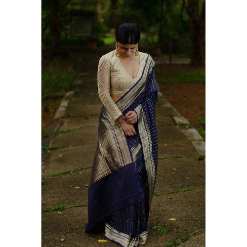 Handwooven kadhwa antique goldsilver jari mulmul cotton banarasi saree.
