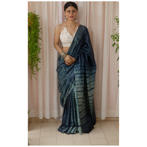 Tussar silk saree with handmade shibori work.