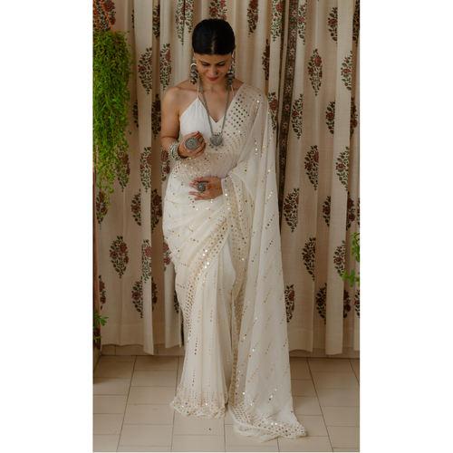 Handembroidered tikki mukaish georgette silk saree