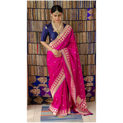 Handwoven  kadhwa katan  Banarasi silk saree with woven motifs.